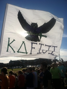Kappa Delta and Fiji members rally and cheer at Football Frenzy. PHOTO BY COURTNEY BROWN