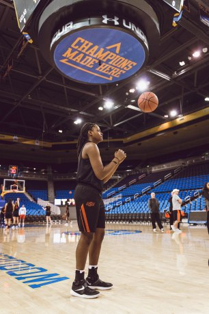 Image Taken At Oklahoma State Cowgirls at UCLA, Saturday, December 15, 2018, University of California-Los Angeles, Los Angeles, CA. Courtney Bay/OSU Athletics