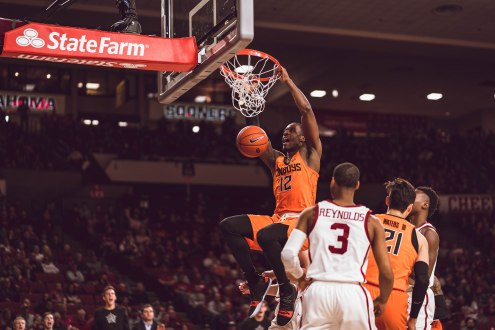 Image Taken At Oklahoma State Cowboys at Oklahoma Sooners Men's Basketball Game, Saturday, January 5, 2019, Lloyd Noble Center, Norman, OK. Courtney Bay/OSU Athletics