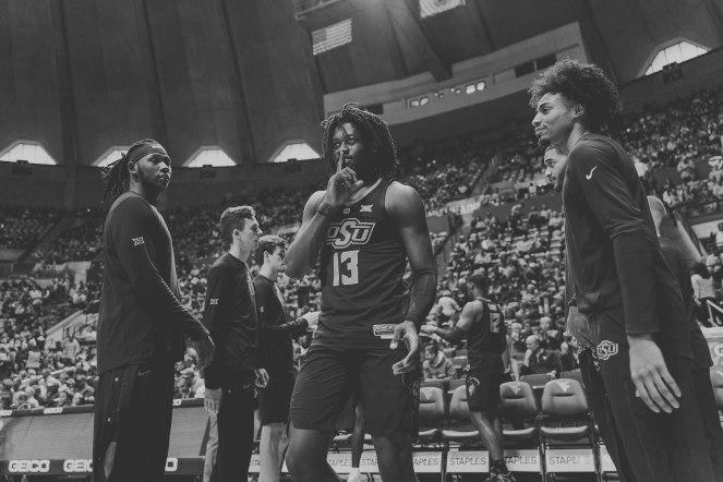 Image Taken At Oklahoma State Cowboys at West Virginia Men's Basketball Game, Saturday, January 12, 2019, WVU Coliseum, Morgantown, WV. Courtney Bay/OSU Athletics