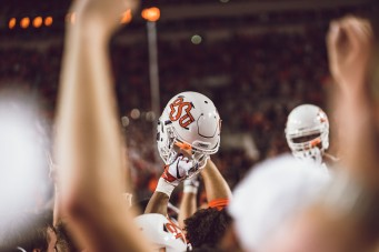 Image Taken At Oklahoma State Football vs. Texas Longhorns, Saturday, October 27, 2018, Boone Pickens Stadium, Stillwater, OK. Courtney Bay/OSU Athletics