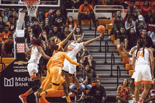 Image Taken At Oklahoma State Cowgirls vs Tennessee Lady Volunteers Women's Basketball Game, Sunday, December 2, 2018, Gallagher-Iba Arena, Stillwater, OK. Courtney Bay/OSU Athletics