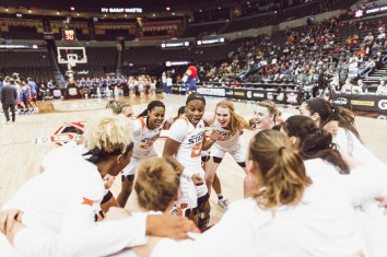 Oklahoma State Cowgirls vs Kansas Jayhawks at the Big 12 Women's Basketball Championships, Friday, March 8, 2019, Chesapeake Energy Arena, Oklahoma City, OK. Courtney Bay/OSU Athletics