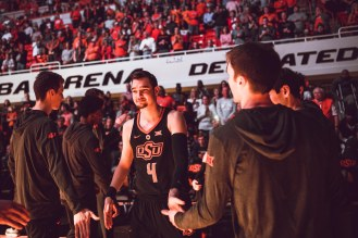 Oklahoma State Cowboys vs West Virginia Mountaineers Men's Basketball Game, Saturday, March 9, Gallagher-Iba Arena, Stillwater, OK. Courtney Bay/OSU Athletics