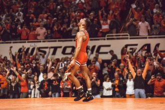 Oklahoma State Cowboys vs Iowa Hawkeyes Wrestling Dual, Sunday, February 24, 2019, Gallagher-Iba Arena, Stillwater, OK. Courtney Bay/OSU Athletics