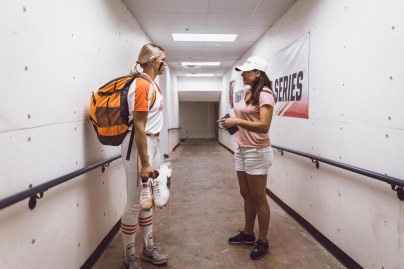 Image Taken At Women's College World Series Media Day and Practice, Wednesday, May 29, 2019, USA Softball Hall of Fame Stadium, Oklahoma City, OK. Courtney Bay/OSU Athletics