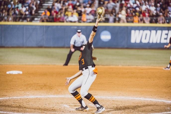 Image Taken At Women's College World Series, Oklahoma State Cowgirls vs Washington Huskies Softball Game, Saturday, June 1, 2019, USA Softball Hall of Fame Stadium, Oklahoma City, OK. Courtney Bay/OSU Athletics