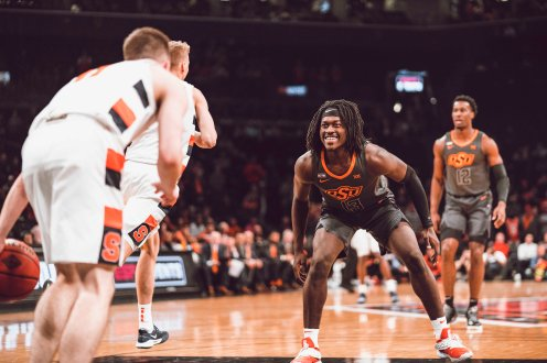 Image Taken At Oklahoma State Cowboys vs Syracuse Orange Basketball Game, Wednesday, November 27, 2019, Barclays Center, Brooklyn, NY. Courtney Bay/OSU Athletics